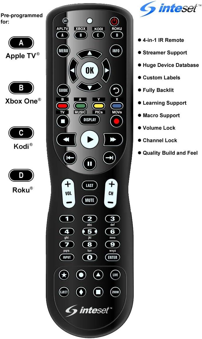 Inteset Télécommande Universelle de Apprentissage rétroéclairé IR 4-en-1 pour Une Utilisation avec Apple TV, Une Xbox, Roku, Centre des médias/Kodi Noir