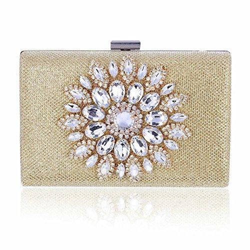 Metal Damara Gorgeous Evening Womens Gold Flower Clutch Box Crystal 66fwzqxpI