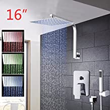 Ohcde Dheark 16 Inch Led Rainfall Bathroom Shower Kit Hand Shower Shower Head Wall Mounted Square Style Chrome Brass Waterfall Shower Set