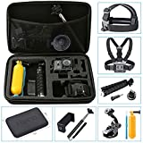 Hieha 10 in 1 GoPro Accessories Kit Action Camera Mount Go-Pro HERO 6 5 4 3 2 1 & Session Carry Case SJCAM SJ4000 SJ5000 Xiaomi YI Vivitar Apeman A80 AKASO EK7000 Vemont ieGeek Bundle Pack Set