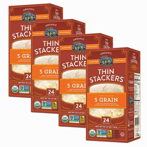 LUNDBERG FARMS | Gluten Free Thin Stackers-Five GrainOrganic 5.9 Oz[4 PACK]