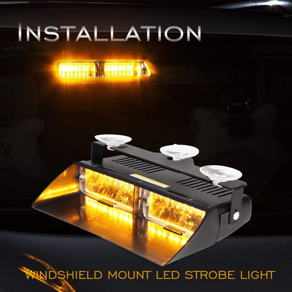 AT-HAIHAN Amber Warning Light 16W LED with 18 Flash Patterns Dash Deck Windshield Mounted for Tow Truck,Utility Vehicle,Constuction Vehicle SPV etc 5559042911