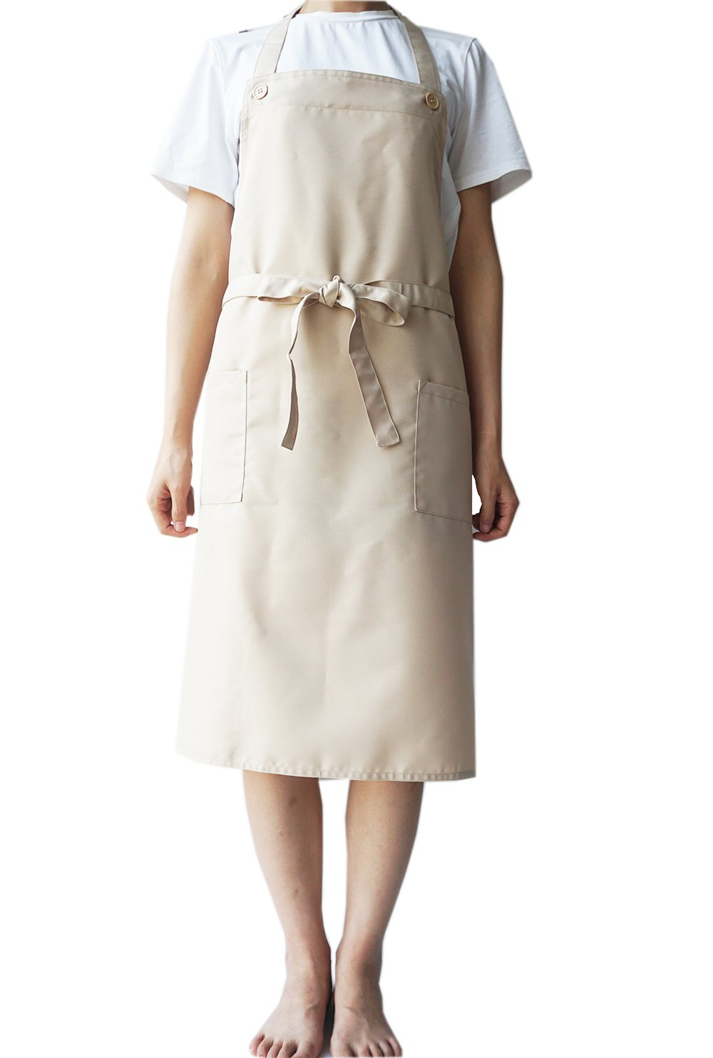 """Prima Apron for Men & Women, Adjustable Button Plain Long Apron with Pockets & Long Ties, Kitchen Apron for Cooking, Baking,Pottery, Painting, Gardening, BBQ, Beauty Salon, H 32"""" x W 36""""(Beige)"""