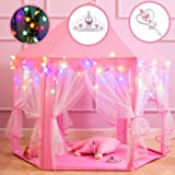 "Princess Castle Play Tents for Girls, Kids Play Tent with Star Lights, Bonus Princess Tiara and Wand, Large Size 55"" x 53"" Pink Hexagon Kids Playhouses Indoor & Outdoor, Girl Toy Gifts Age 3+"