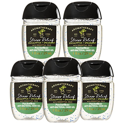 Bath and Body Works Aromatherapy Stress Relief - Eucalyptus Spearmint with Essential Oil PocketBac Sanitizer Hand Gel [5-PACK]