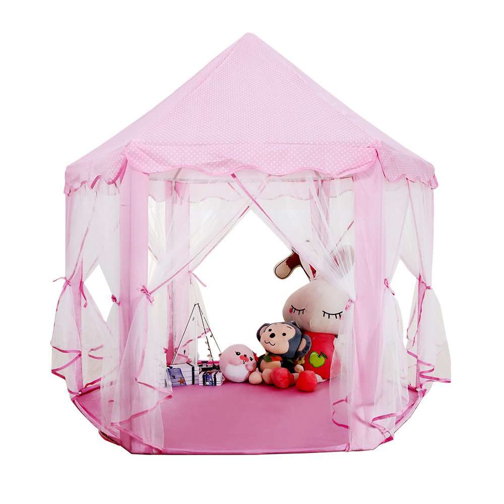 LBLA Indoor Children Playhouse with Durable PVC Stent Easy Folding Princess Castle Play Tent for Children