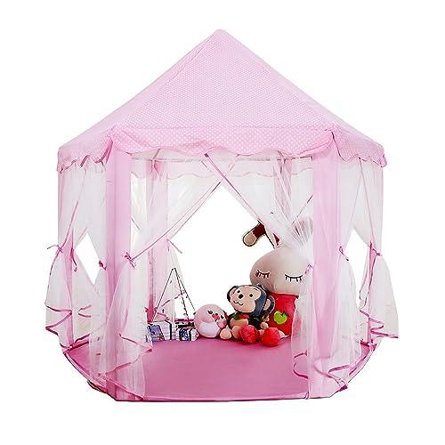 LBLA Tente Enfants Château Princesse Bébés Salle de Jeux Intérieure et Extérieure Tente de Jeu Pliable Hexagone avec Mallette de Transport