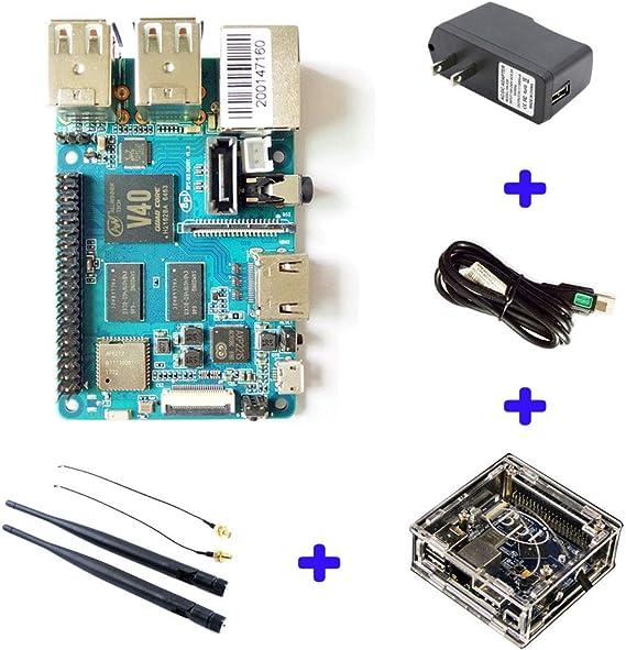 Banana PI BPI M2 Berry + Estuche acrílico Mali Doble 400 MP2 GPU 1G LPDDR3 Fuente Abierta y el Mismo tamaño Que Raspberry Pi 3 y Quad Core Arm Cortex A7 a