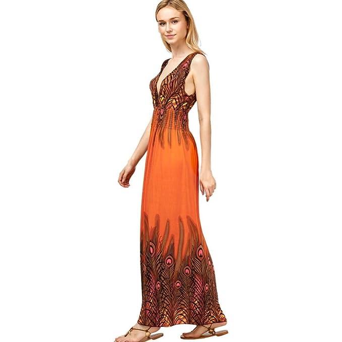 Oyedens Vestidos Vestido, Mangas del Vestido del Boho de Las Mujeres del Pavo Real de Las Mujeres Vestido Maxi Largo del Partido de Tarde de Las Señoras ...