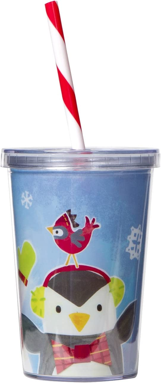 By Gibby and Libby Features Cheery Holiday Design Reindeer Measures 3.5 x 4.75 C.R Gibson 10oz Christmas Tumbler with Straw
