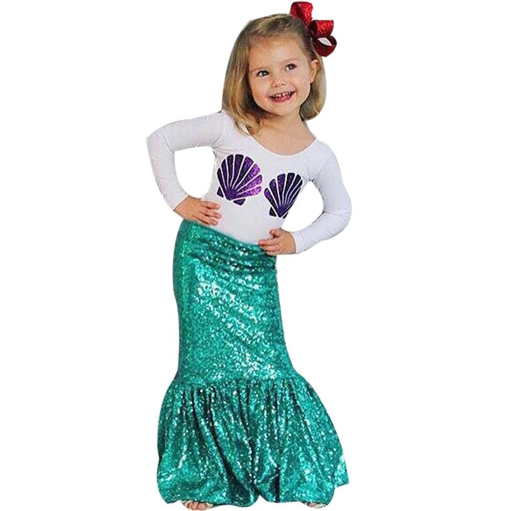 Doinshop 1Set Novelty Kids Girl Shell Print T-shirt Tops+Mermaid Skirt Outfits
