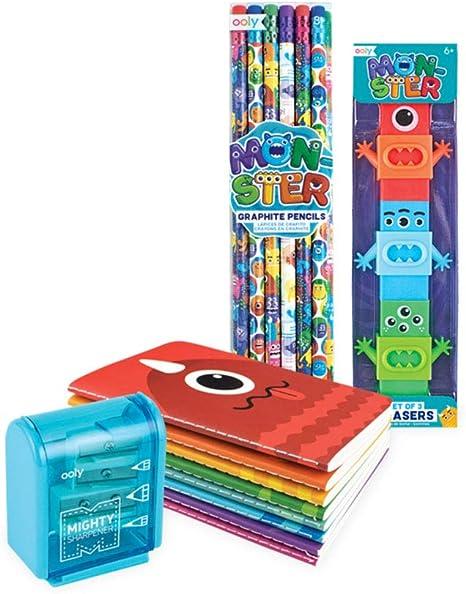 Ooly Happy Pack, lápices de grafito + borradores + sacapuntas + cuadernos de bolsillo - Monster Pals Power: Amazon.es: Juguetes y juegos