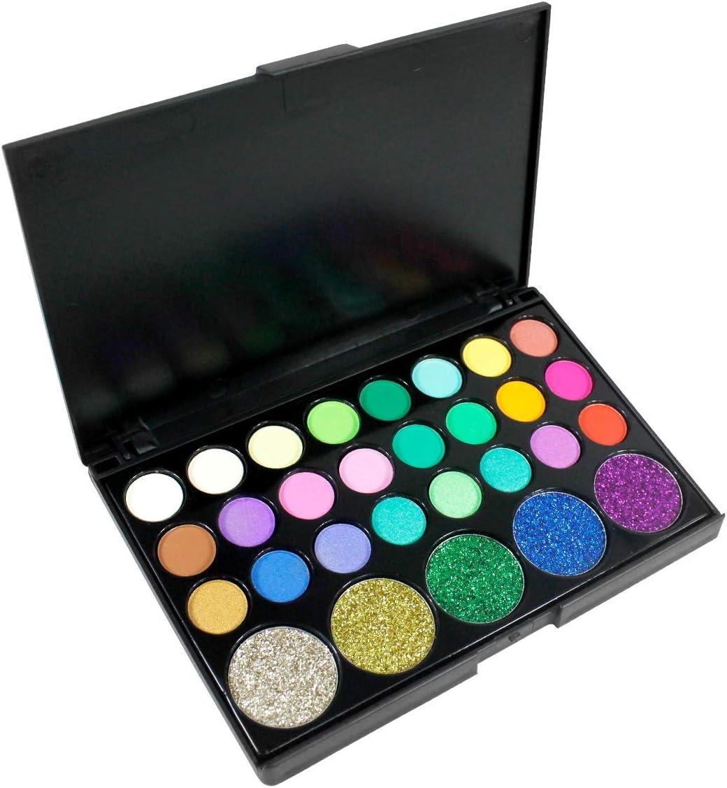 Sombra de Ojos, Kit de maquillaje de ojos de 29 colores, caja de maquillaje de sombras de ojos de tonos brillantes y brillantes de colores brillantes
