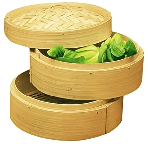 "Personal Size Dimsum High Tea 6"" Diameter Bamboo Steamer - Stackable Two Baskets With One Lid"