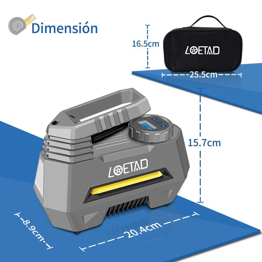 Color Plateado LOETAD Compresor de Aire Inflador El/éctrico Port/átil 150PSI con Pantalla Digital para Ruedas de Auto o Globo Inflable DC 12V