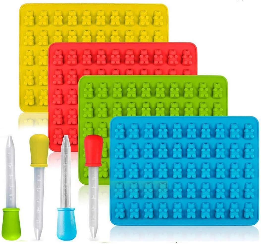 Gummib/ärchen-Seifenformen 50er-Silikon-S/ü/ßigkeitenformen f/ür Schokoladenformen mit 4 Tropfen Gelee 18,5 * 13,5 * 1 cm 4er-Pack S/ü/ßigkeiten-Silikonformen /& Eisw/ürfelschalen