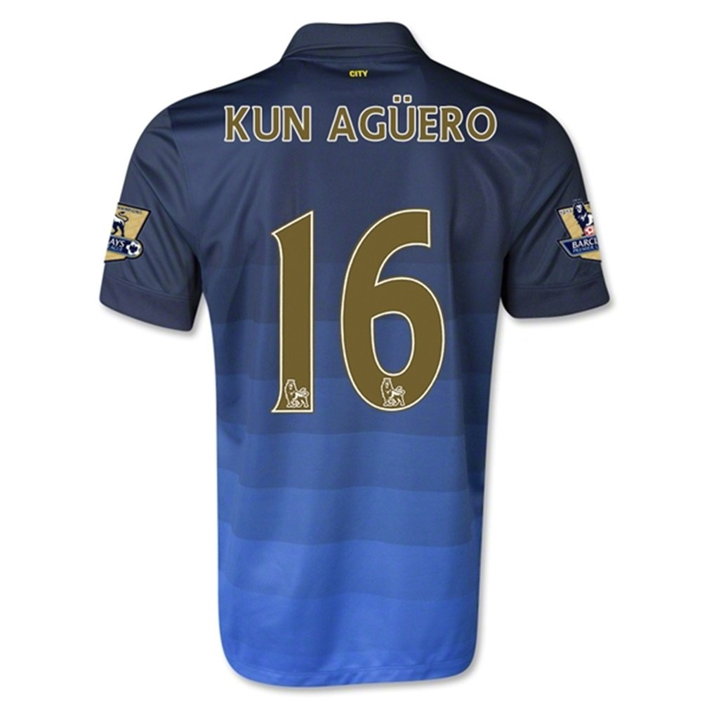 Nike Manchester City Away 2014/15 Jersey (Official with Kun Aguero 16 and EPL Patches - Size S by Nike
