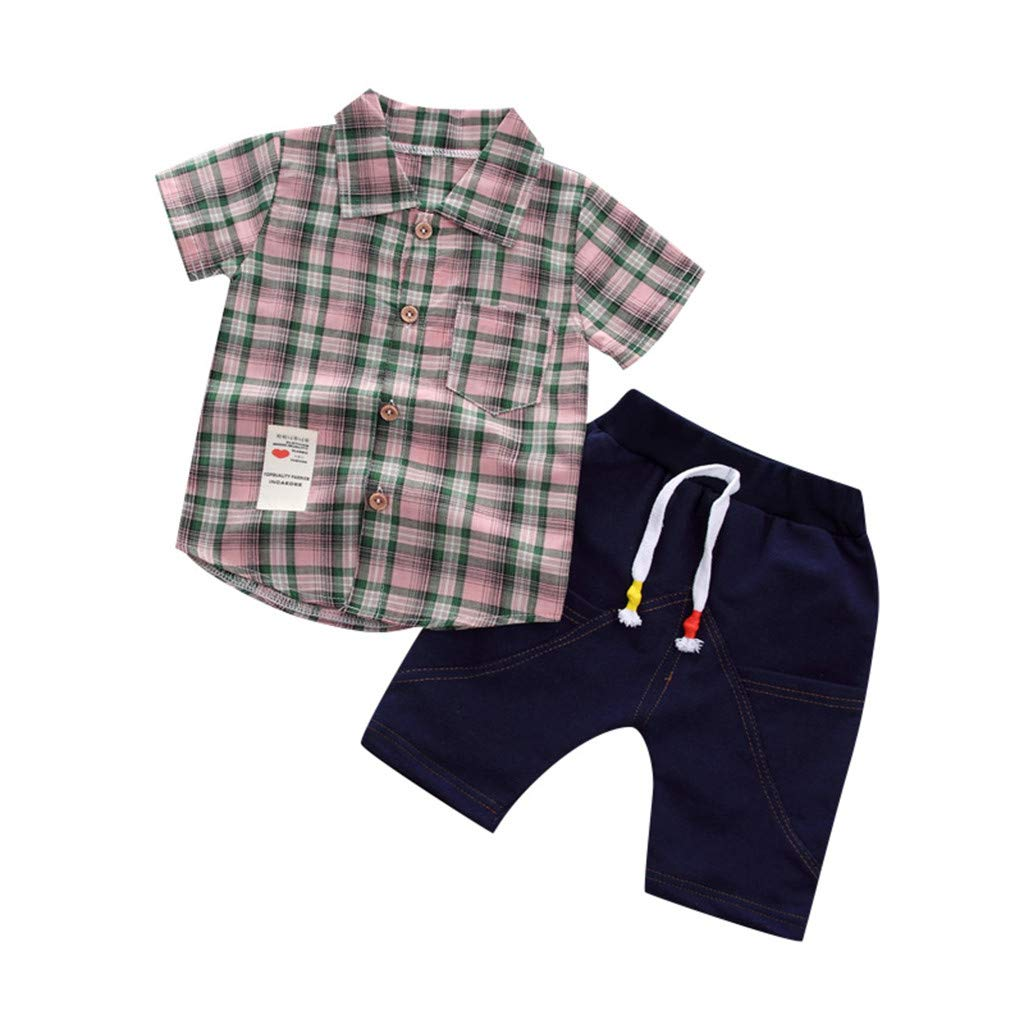KONFA Toddler Baby Boys Summer 2Pcs Outfits Clothes,Short Sleeve Plaid Shirt with Pocket Tops+Stylish Denim Shorts