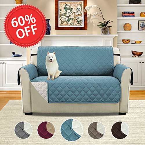 Reversible Stay in Place Plush Furniture Protector / Slipcovers for Dogs / Cats, 75 inch X 90 inch (Love Seat - Smoke Blue/Beige)