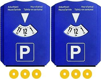 2 Discos de Estacionamiento Aparcamiento con 3 Chip para Carros de Compra - Disco Horario Coche Parquímetro de Plástico Azul