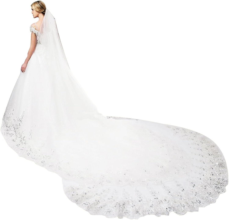 Cibelle Elegant Lace Edge 4 Meters Long Wedding Veil Sequins Bridal Veil with Metal Comb