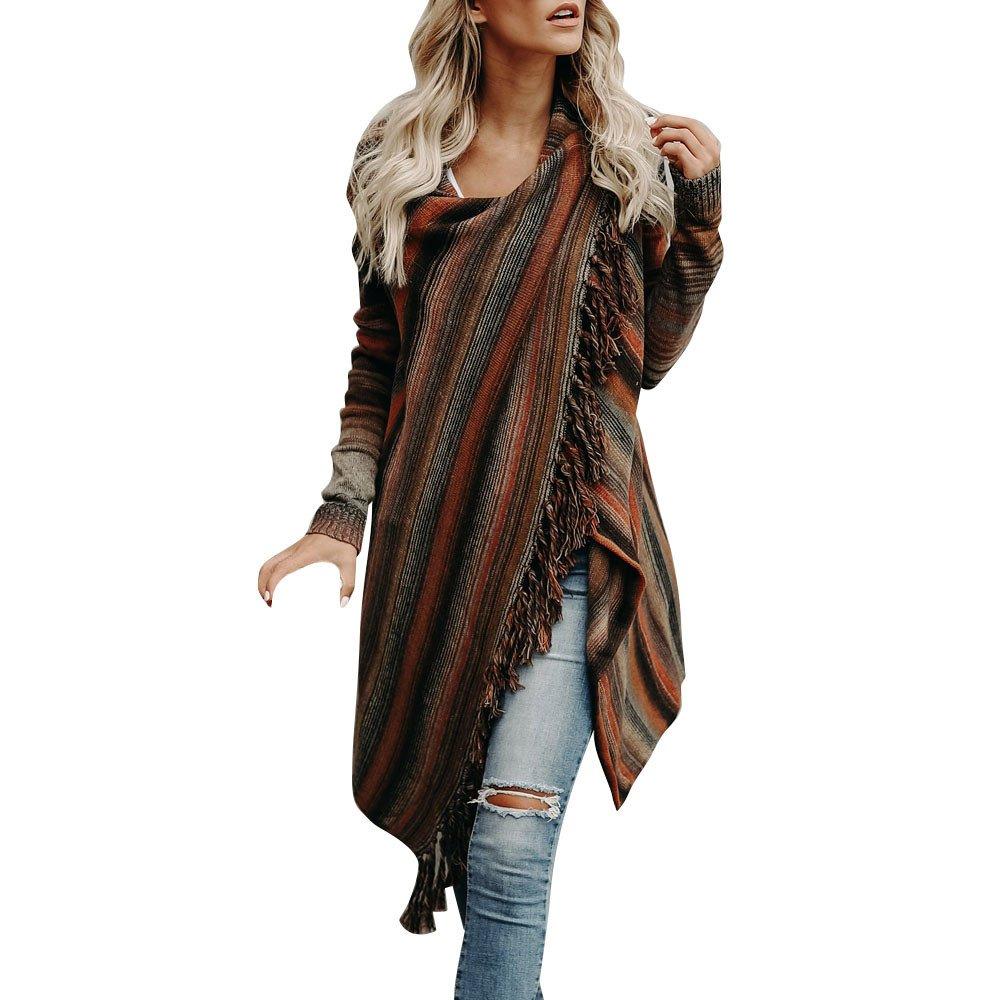 Hot Sale Clearance Knited Cardigan GOVOW Women Long Sleeve Tassel Hem Crew Neck Blouse Tops Shirt