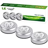 LE Pack of 3 Units 3 LED Puck Light Bulb, Daylight White, 6000K, LED Battery-Operated Stick-On Tap Light,Wireless Night Light