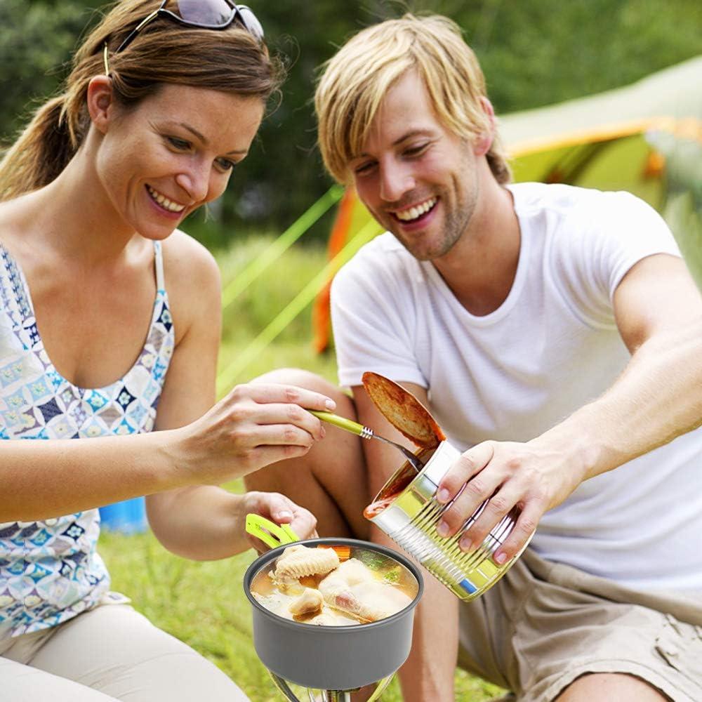 1-2 Personas Ligero y Port/átil Utensilios de Cocina Camping Pots Set para Exteriores C/ámping Mochilero Excursionismo Picnic BelleStyle Utensilios Cocina Camping