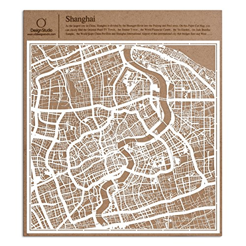 Shanghai Paper Cut Map by O3 Design Studio White 12x12 inches Paper Art China Paper Shanghai