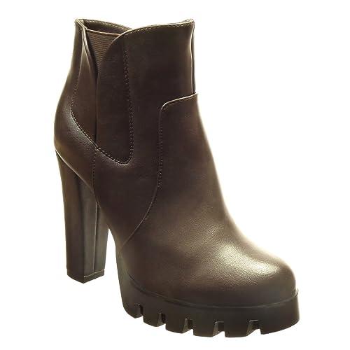 Angkorly - Zapatillas Moda Botines Chelsea Boots Plataforma Mujer Cremallera Tacón Ancho Alto 11.5 CM CM - Marrón BS023 T 40: Amazon.es: Zapatos y ...
