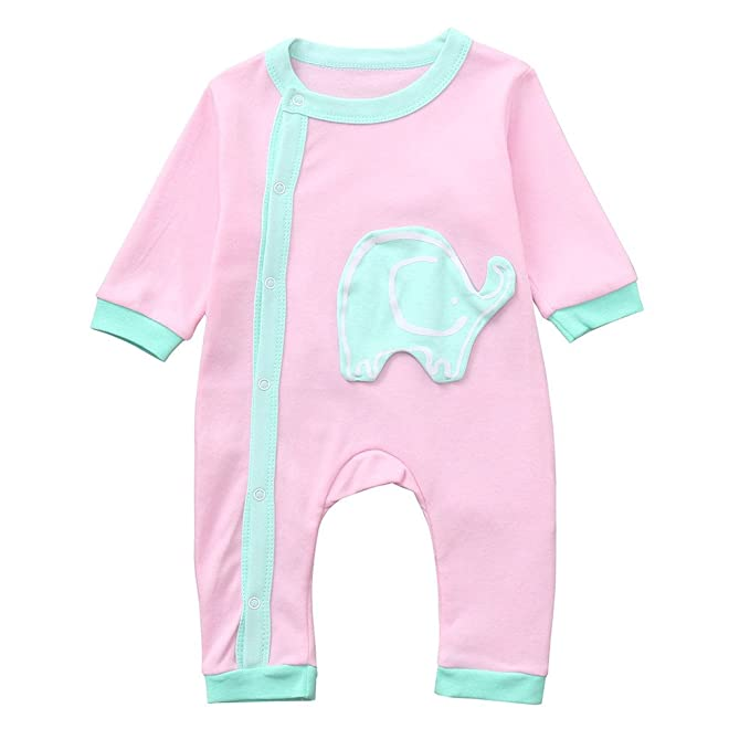 c08ffd142 PLOT Baby Romper Elephant Jumpsuit Short Sleeve Clothes Bodysuit Clothing  Outfit: Amazon.co.uk: Clothing