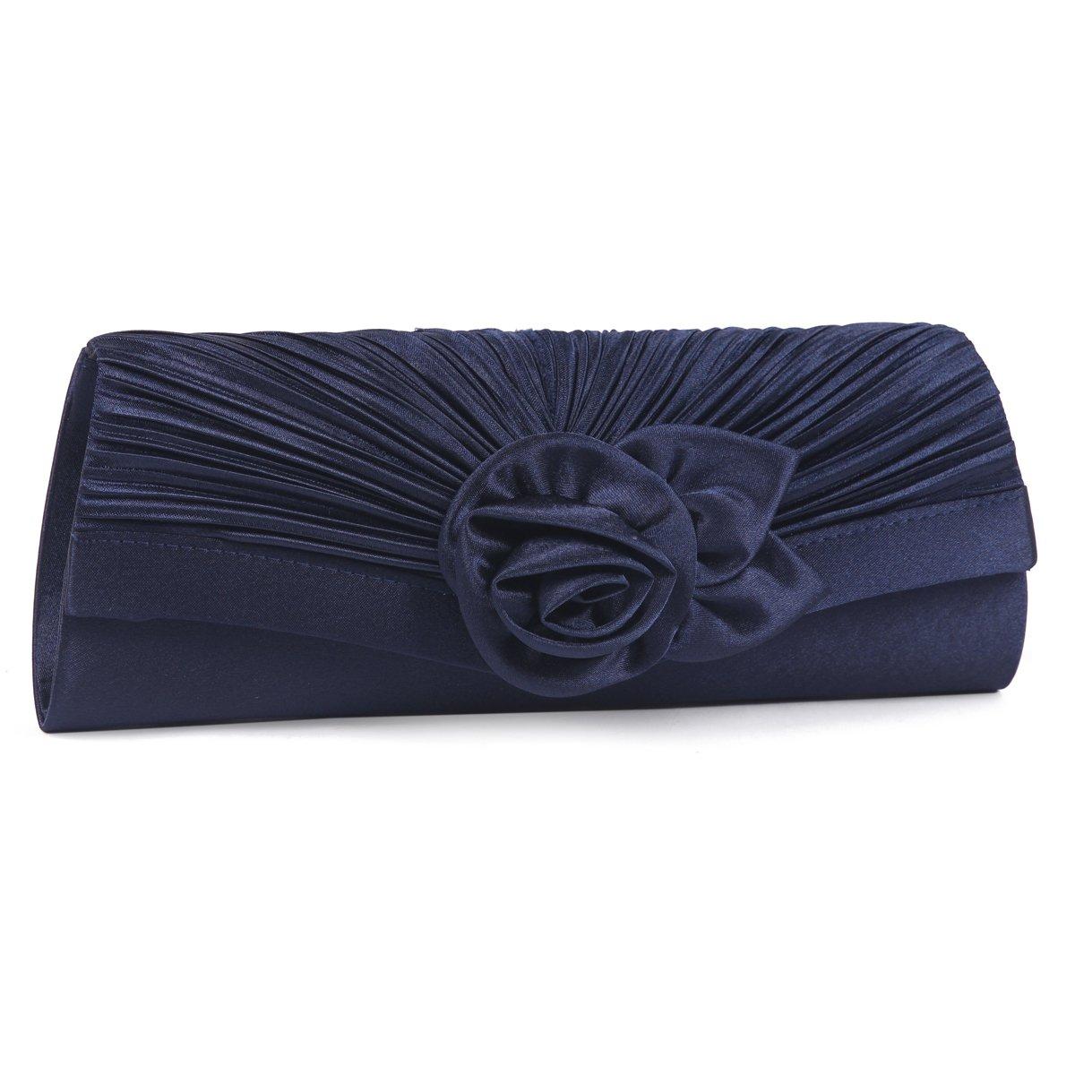 Damara Women's Satin Pleated Flower Front Evening Bag Clutch Handbag,Navy Blue