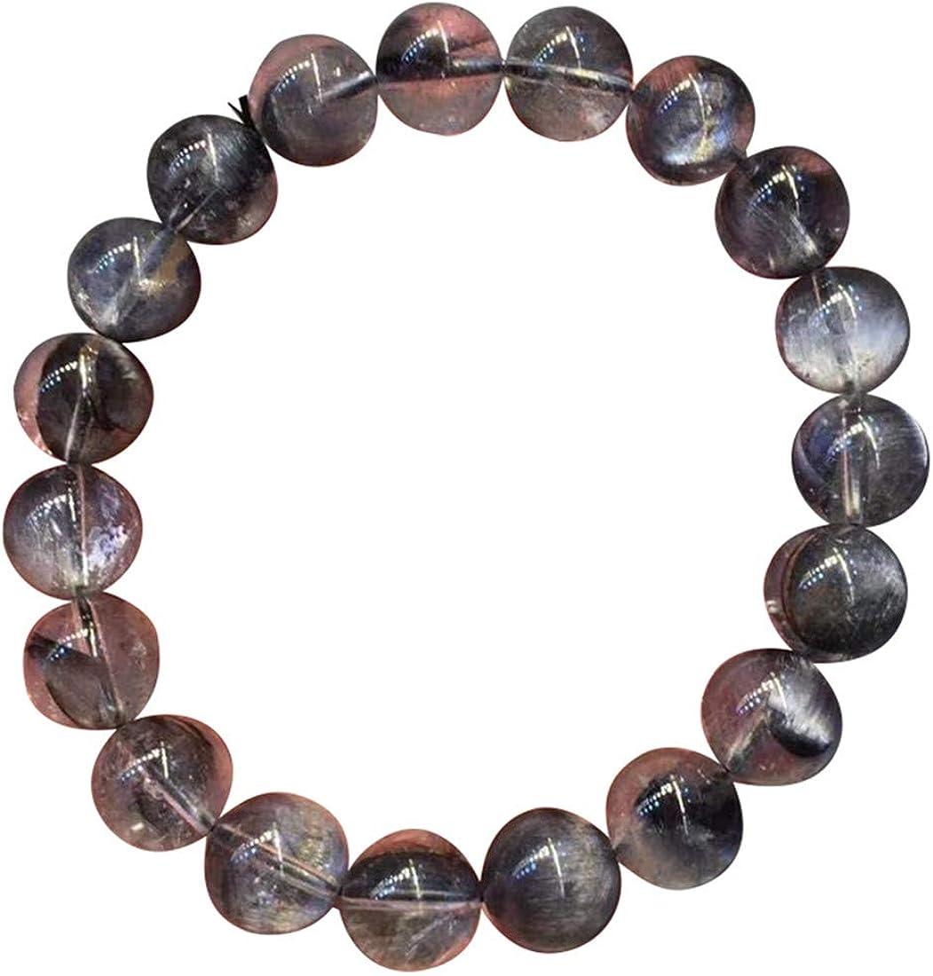 DUOVEKT Pulsera de cuarzo rutilado de plata de Brookite natural de 10 mm para mujer y hombre, cuentas redondas transparentes de cristal elástico