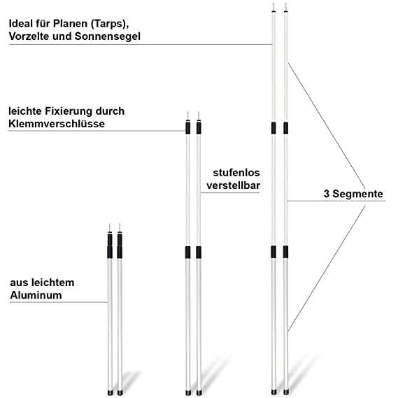 noorsk 2 Unidades de Varillas de Aluminio Barras telesc/ópicas