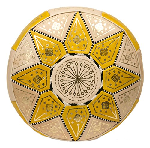 cute moroccan leather yellow pouf