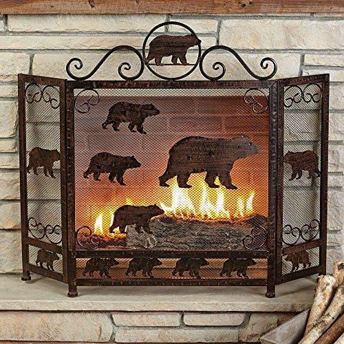 fireplace screen bear - 2