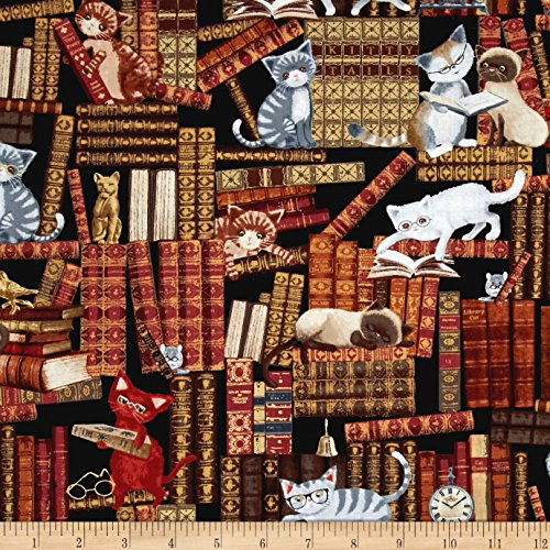 Timeless Treasures Cats in The Library Multi Fabric by The Yard ()