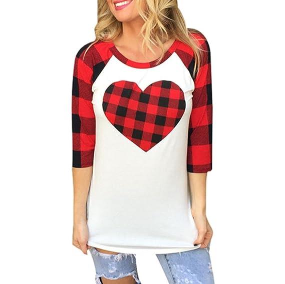 Zarupeng Día de San Valentín regalo plaid corazón impresa 3/4 manga camiseta blusa (