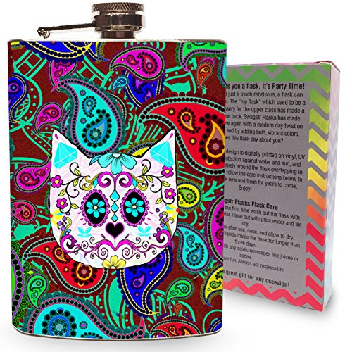 Paisley Kitty Flask Stainless Steel 8oz Silver Metal Hip Flasks for Drinking Whiskey Gin Vodka Alcohol Liquor Sugar Skull Cat Cats Gift Pets - Gift (Sugar Skull Cat)