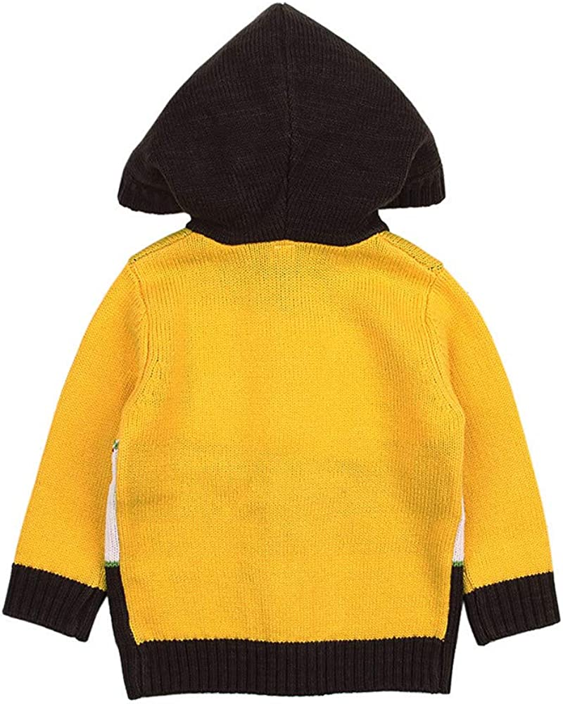Newborn Baby Boys Girls Cartoon Deer Sweater Hooded Tops Pollyhb Baby Knitted Coat