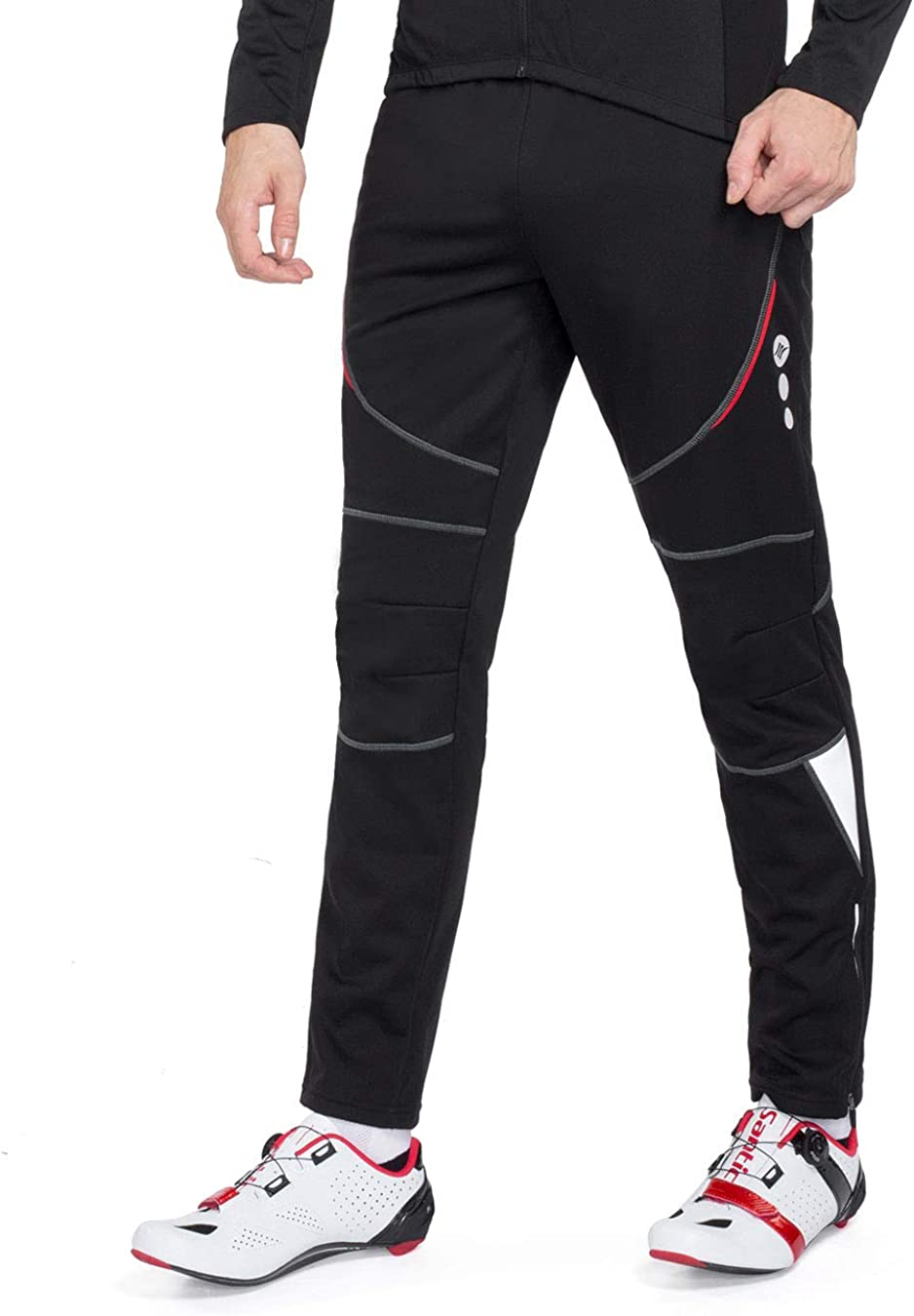 Santic Men's Cycling Pants Fleece Thermal Windproof Winter Outdoor Athletic Pants for Biking Running Hiking : Clothing