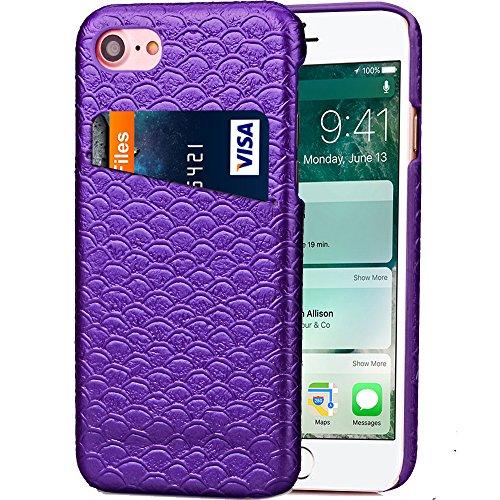 iPhone 7 Hülle, Cozy Hut ® Design Genuine Leather Series Hülle | Apple iPhone 7 | [Mermaid Fischschuppenmuster] Elastisch [lila] Ultimative Schutz vor Stürzen und Stößen - [Skinning-Karte] Zubehör Tas