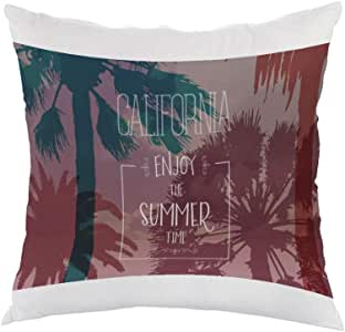 enjoy the summer time Printed Pillow, white velvet Fabric 40X40 cm
