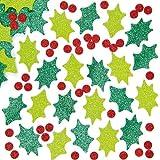Adesivi in Schiuma Glitterati a forma di Agrifoglio per Bambini, per Creazioni Fai Da Te di Natale (confezione da 200)