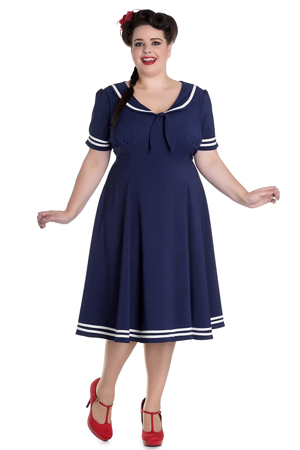 2849bd1d7ec6a Hell Bunny Nautical Navy Sailor with Bow tie Ambleside Dress at Amazon  Women s Clothing store