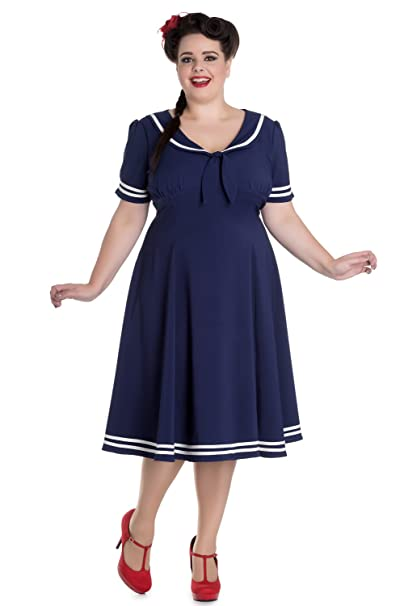 60s 70s Plus Size Dresses, Clothing, Costumes Hell Bunny Nautical Navy Sailor with Bow tie Ambleside Dress $75.95 AT vintagedancer.com
