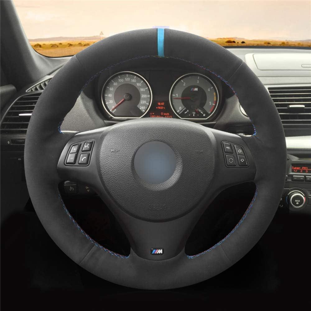 HCDSWSN Caches de Volant,pour BMW M Sport M3 E90 E91 E92 E93 E87 E81 E82 E88 X1 E84 Couvre-Volant de Voiture en Cuir su/éd/é Noir