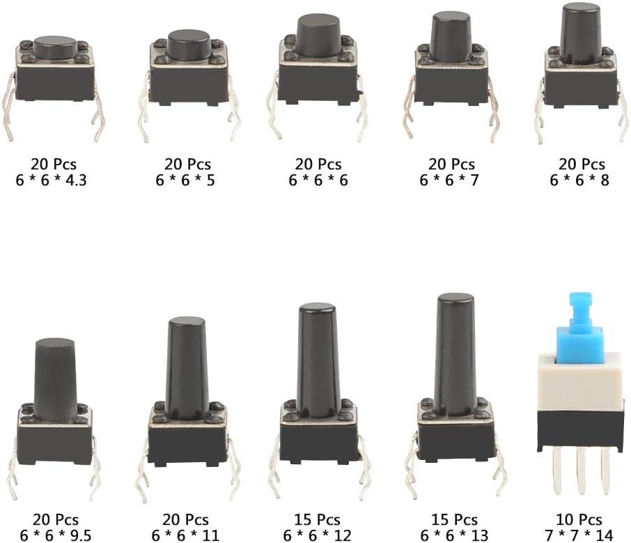 Qlouni 10 Types Tactile Push Button Switch 180 Pieces Push Button Switch Micro Switch Momentary Switch Assortment Kit 50 Ma Baumarkt