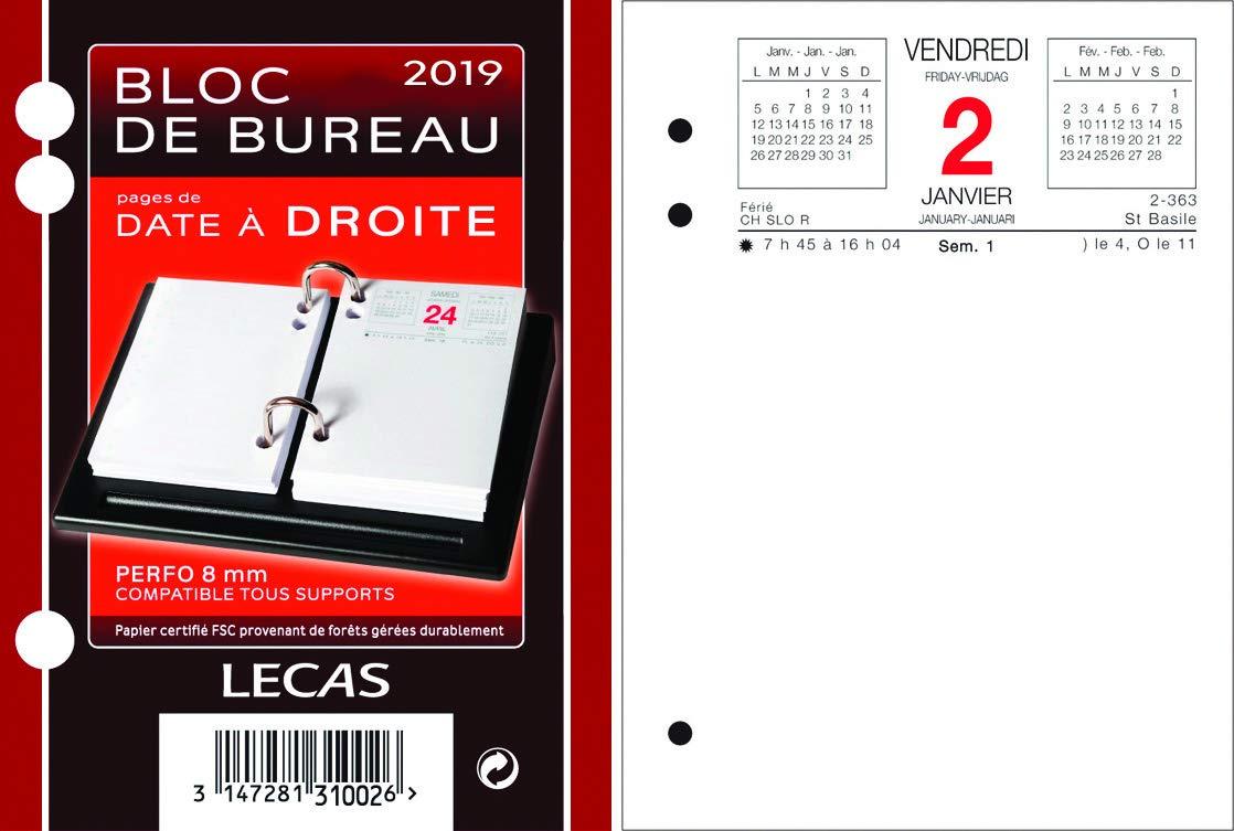 lecas - 400056043 - 1 Recharge pour bloc éphéméride date a droite 2019 - 85 x 115 mm Calendrier Bouchu Quo Vadis Civil