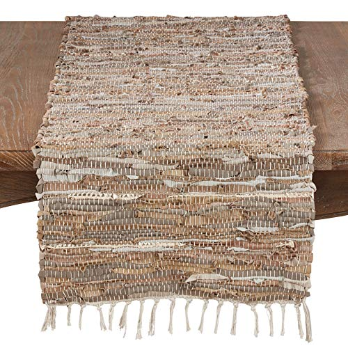 (Fennco Styles Delicate Woven Chindi Leather Cotton Bohemian Design Table Linen (16